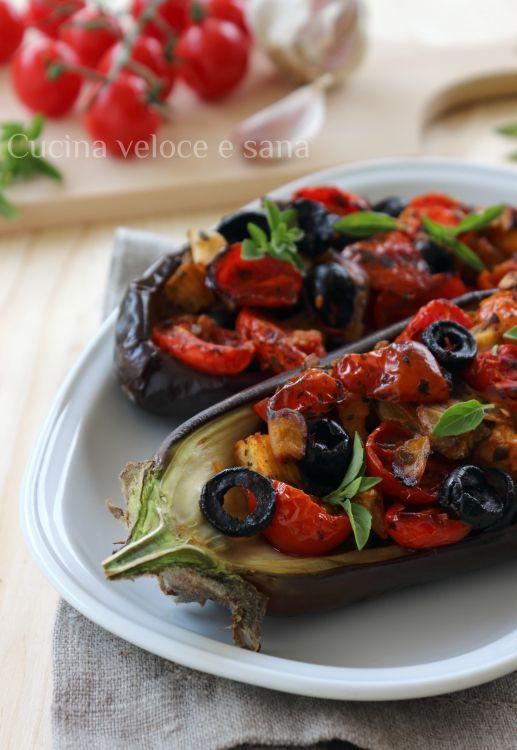 melanzane farcite con olive e pomodortini
