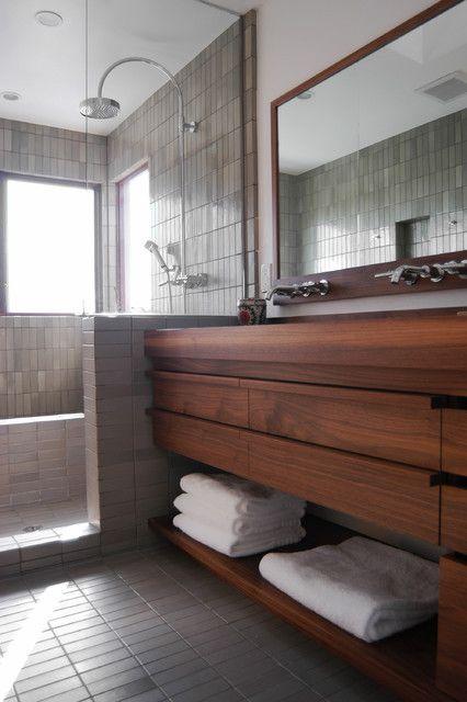 Vintage 13th Street Contemporary Bathroom Vanity Of Wood Sleek Wall Tile Stainless Steel Shower Glass Shower Cabin Wood Storage #minimalist bathroom