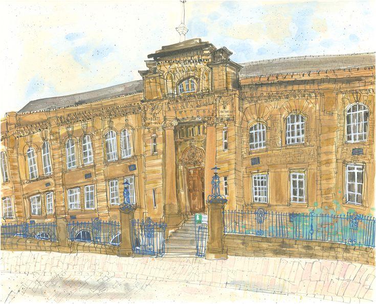 Clare Caulfield, Lister Building Bradford College, watercolour & pencil
