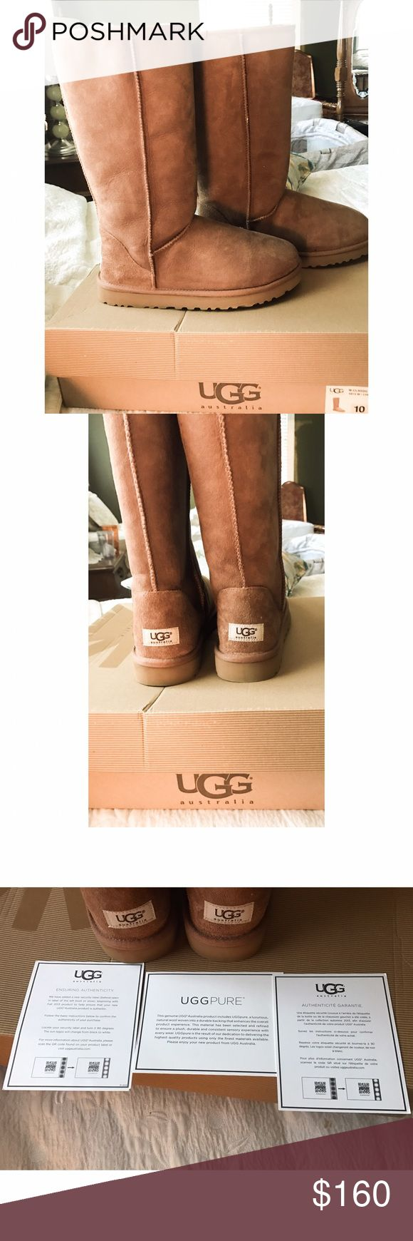 UGG classic tall boot  AUTHENTIC NIB SZ 10 Ugg Australia classic tall boot in chestnut sz 10 new in box with authentication. Never worn. Received for christmas but chose the get the shorter boot instead, so I'm selling these. Perfect never worn brand new. Feel free to make reasonable offers. Already discounted from what they are online at ugg UGG Shoes Winter & Rain Boots