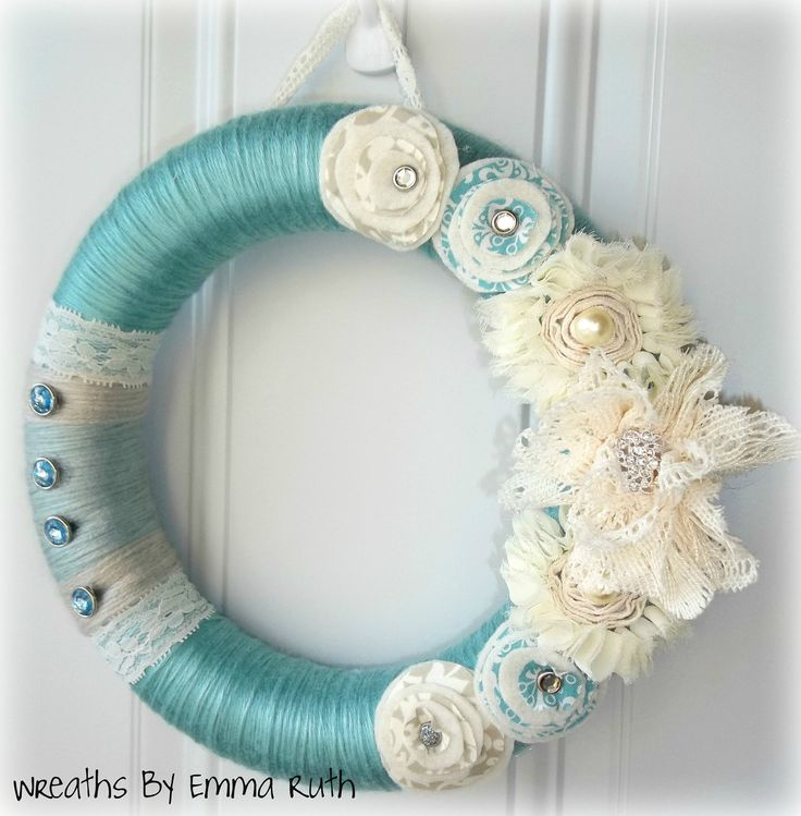 Tiffany Blue Yarn Wreath