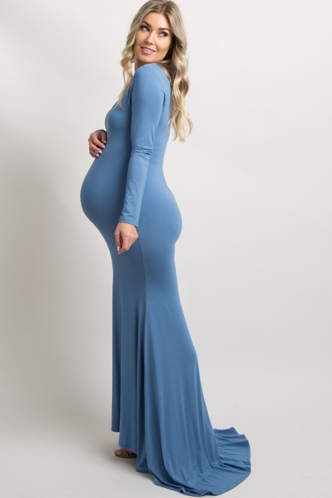 933abf855fa Blue Long Sleeve Dress from Pink Blush With our Maternity Dress Buy Back  Program you can