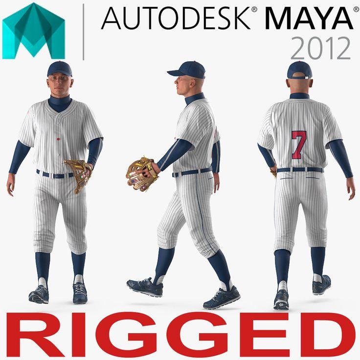 Baseball Player Rigged Generic 6 for Maya 3D