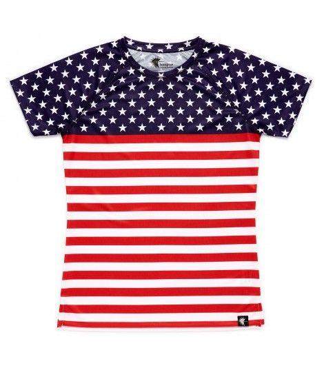 camiseta running mujer stars and stripes bandera EEUU Hoopoe Running Apparel