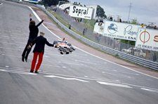 Luca di Montezemolo (ITA) Ferrari Team Manager jumps for joy as Niki Lauda (AUT) Ferrari 312B3 crosses the finish line to take his first GP victory. Spanish Grand Prix, Jarama, 28 April 1974