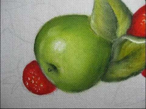Pintura em tecido - Como pintar maçã verde com morangos