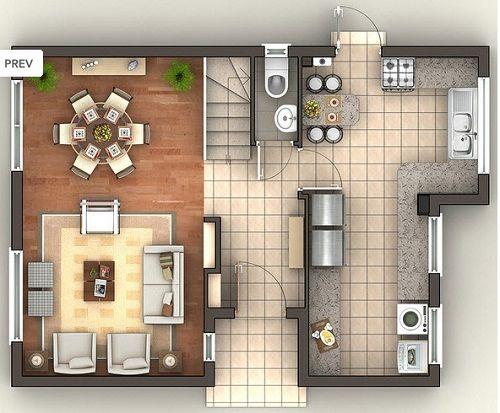 floorplan living/dining/kitchen/entrance/wc