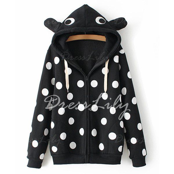 Fashionable Hooded Long Sleeve Polka Dot Print Zipper Women's Hoodie, BLACK, ONE SIZE(FIT SIZE XS TO M) in Sweatshirts & Hoodies | DressLily.com