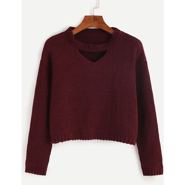 SheIn(sheinside) Burgundy Cut Out Crop Sweater ($21) ❤ liked on Polyvore featuring tops, sweaters, burgundy, pullover sweaters, red crop top, cut-out crop tops, loose sweater and crop top