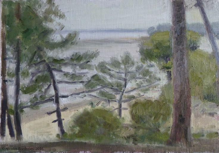 Le bassin d'Arcachon vue de la plage de Petit Piquey, oil on wood, 19 x 27 cm, 2016. 7/8