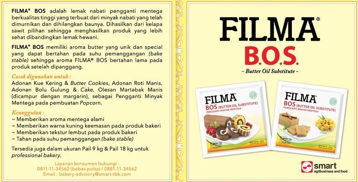 Filma BOS Lemak nabati pengganti mentega berkualitas tinggi terbuat dari minyak nabat yang telah di murnikan dan di hilangkan baunya. Dihasilkan dari kelapa sawit pilihan sehingga menghasilkan produk yang lebih sehat di banding lemak hewani