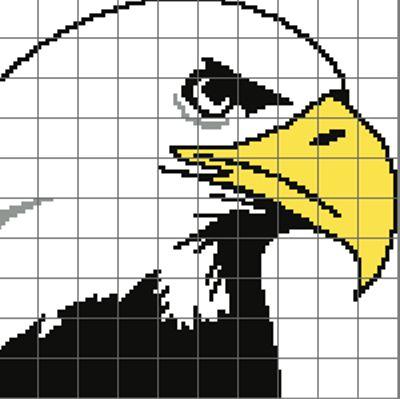 (4) Name: 'Crocheting : Bald Eagle Crochet Graph / Chart