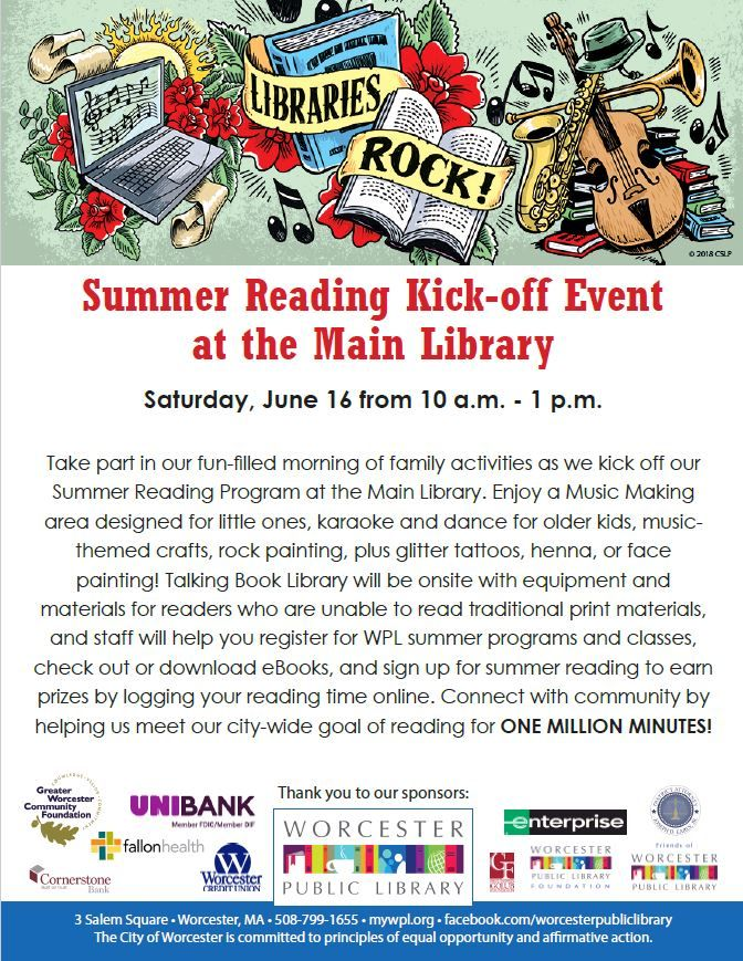 Summer Reading Program kickoff at the Main Library on 6/16 from 10am