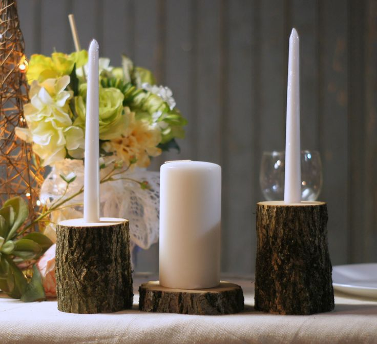 """Rustic Log Wedding Unity Candle Set Two Tapered Candle Holders and one Log Slice Base for Pillar Candle. *** Candles not included**** Approx measurement: Candle Holders: Diameter 3-4"""" Heights of 3-5"""""""