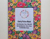 Liberty Art Fabric Picture Mount ~ Fits A4 Frame ~ Home Desk Decor Gift Wall Art ~ Bright Bold Big Floral Gemma Print.  Shop Rhapsody and Thread via Etsy.