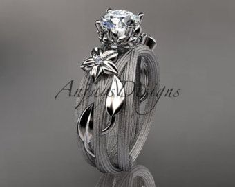 platinum diamond leaf and vine wedding by anjaysdesigns on Etsy