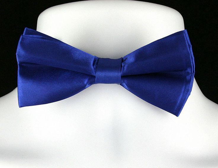 New Royal Blue Satin Finish Mens Bow Tie Tuxedo Wedding Prom Fashion Bowtie #DanggiMan #BowTie