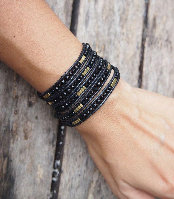 Mélange noir envelopper Boho bracelet, bracelet, bracelet de perles