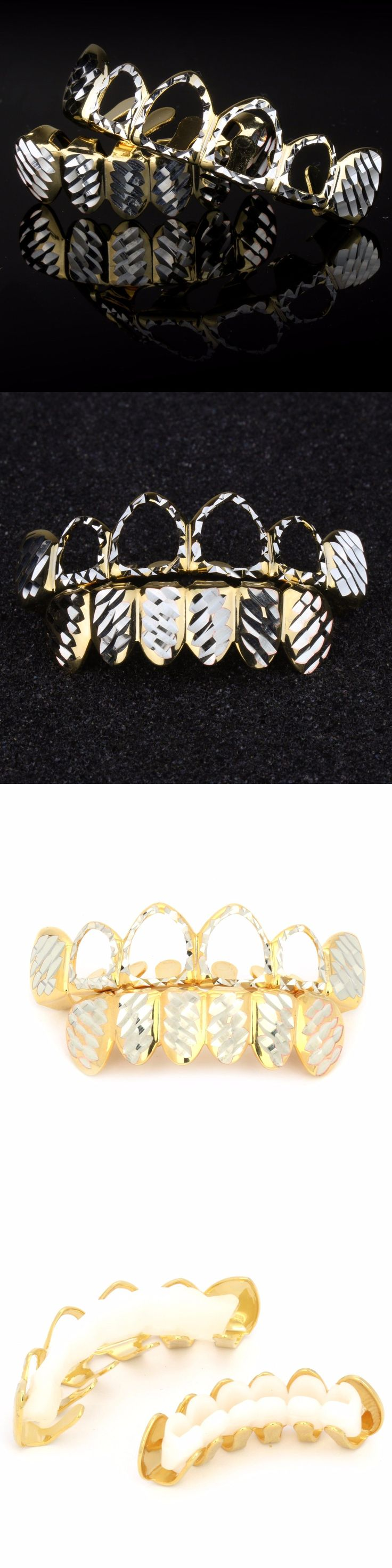 Grillz Dental Grills 152808: 14K Gold And Silver Plated Diamond Cut Hollow Top And Bottom Teeth Hip Hop Grillz BUY IT NOW ONLY: $250.0