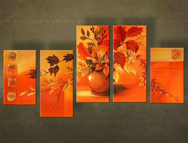 Ručne maľovaný obraz KVETY 5 dielny  4867FA