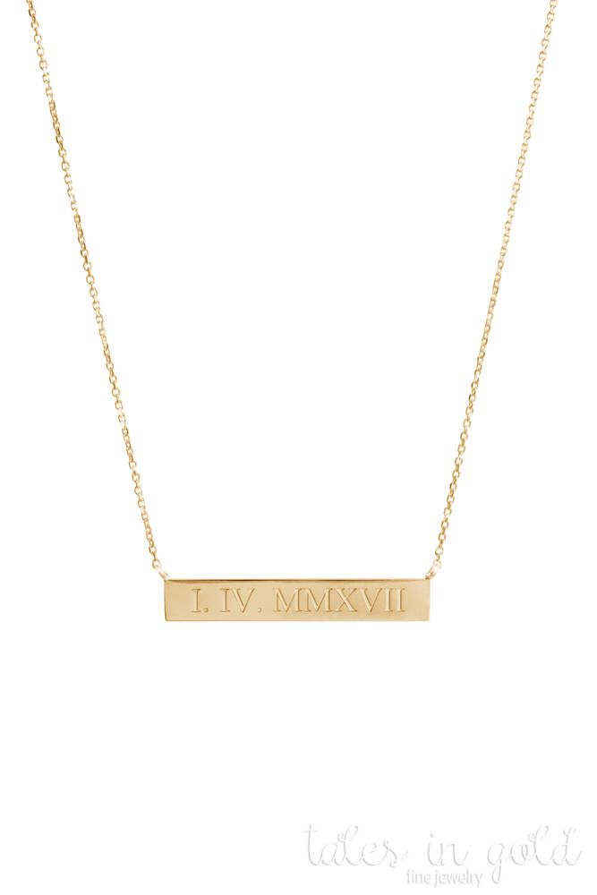Roman Numeral Bar Necklace Gold Date Necklace 14k Gold