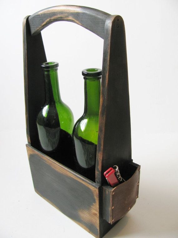 Handmade two bottle wine carrier in signature от WoodaCooda, $49.75