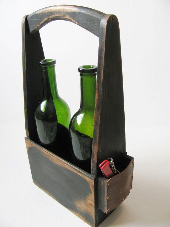 Handmade two bottle wine carrier in signature от WoodaCooda