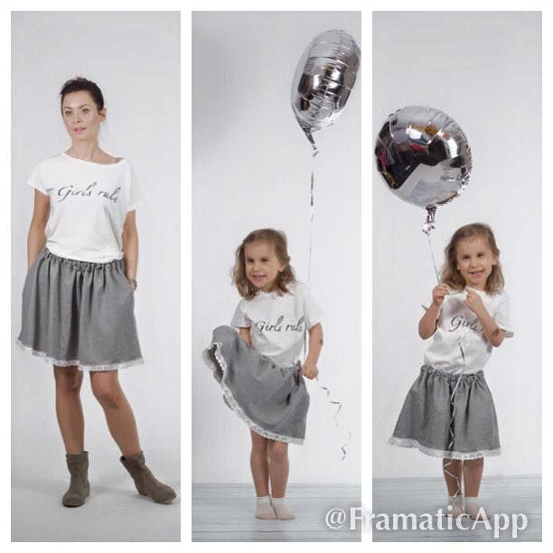 "Set of 2 t-shirts ""Girls rule"" for mom and daughter, price of set: 60 EUR"
