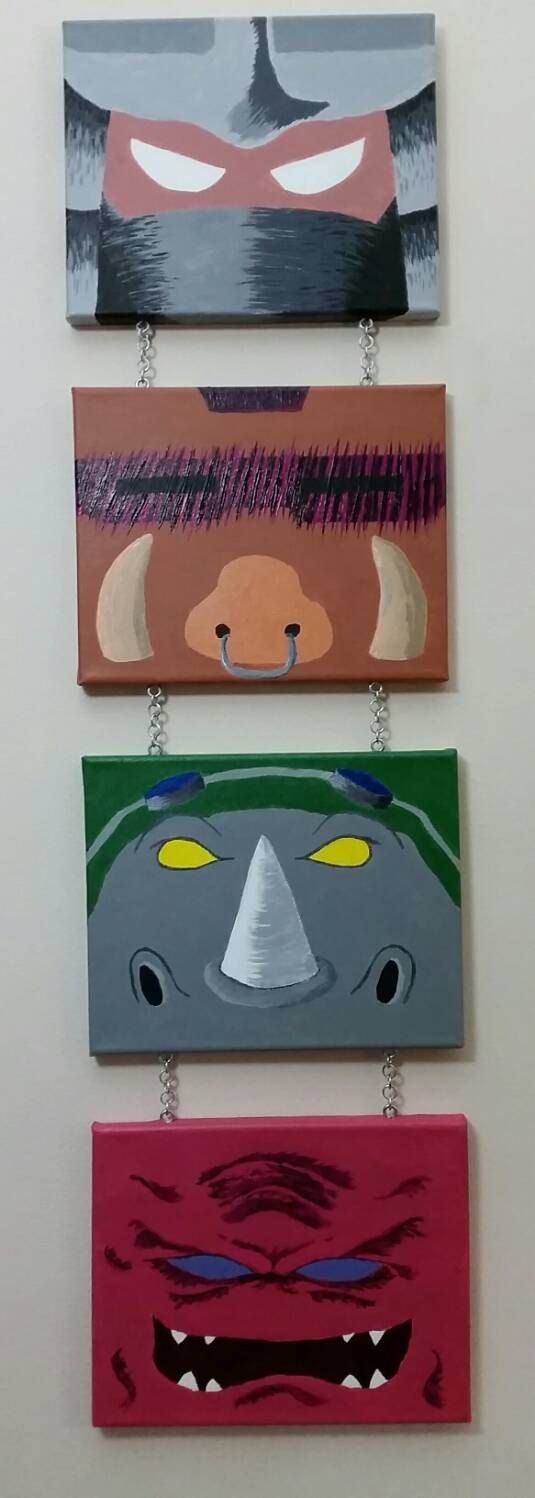 tmnt villains, shredder, bebop, rocksteady, krang, acryllic, painting, canvas, teenage mutant ninja turtles