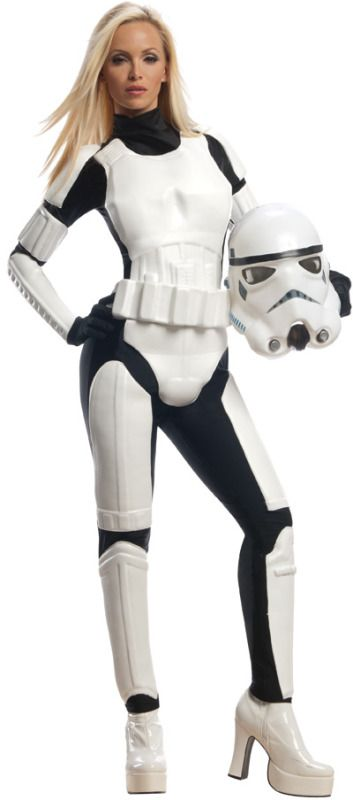 Sexy Stormtrooper Ladies Costume - This is an officially licensed female Stormtrooper costume. This is a sexy Star Wars look.  This is a three-piece Stormtrooper costume with an armoured jumpsuit, belt and helmet. The jumpsuit is stretchy black fabric that zips up in the back. The armour is light moulded foam. There' is a chest piece, shoulder and bicep armour, gauntlets, a cod piece, and thigh and shin guards. The belt is also moulded foam and it ties up around the waist.
