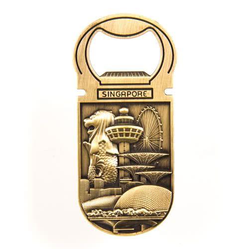 Metal Fridge Magnet: Singapore. Main Attractions. Bottle Opener (Brass Color)
