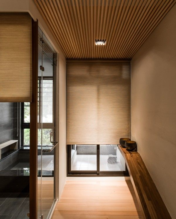 Architecture, Wood Panel Entryway With Straped Window Style Wooden Roftop Lined…