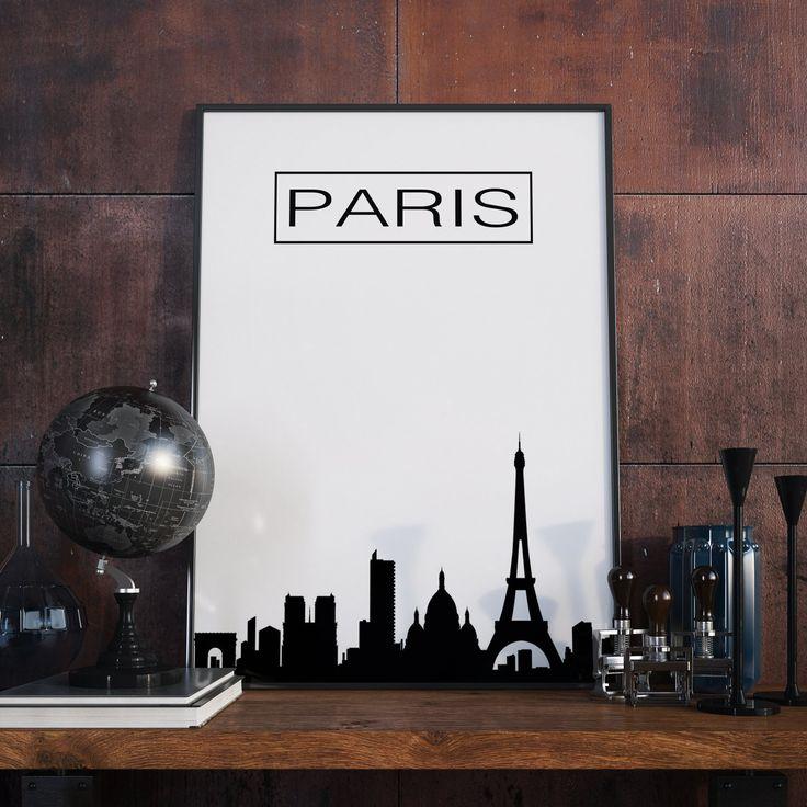 Paris Skyline, City Skyline, Paris, Poster, Wanddekor, Paris Kunstdruck, Paris Artprint, Druckbare Kunst, Digitaler Download, Geschenk von FineArtHunter auf Etsy