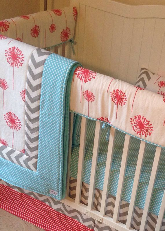 Dandelion Coral Aqua Gray Crib Bedding Set by butterbeansboutique <-- Favorite Etsy shop for crib bedding.