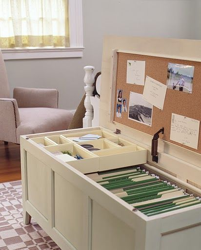 Bench file cabinet. Great space saving idea. Better than a file cabinet taking up space in a closet! Good for home office.