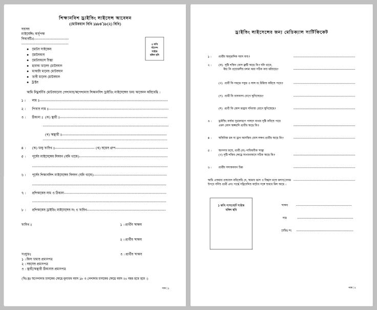 Application form for learners driving licence