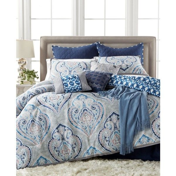 Kelly Ripa Home Weston 10-Pc. Reversible California King Comforter... ($360) ❤ liked on Polyvore featuring home, bed & bath, bedding, comforters, blue, california king comforter sets, knit comforter, 10 piece comforter set, blue comforter and california king bedding