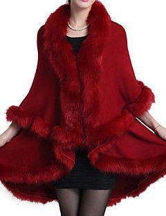 prendas de abrigo de piel sintética sólido de las mujeres