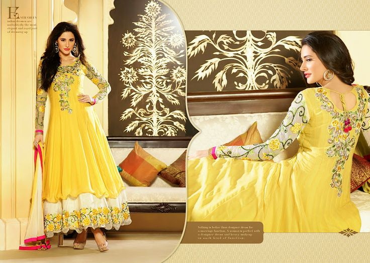 $77.00 Dressing style and design with off white  yellow faux georgette salwar kameez. this enticing attire Is showing some incredible embroidery done with dangler,jaal work, lace,resham, stones work. http://www.sareeonline.com/proj/gallery/fullview.aspx?scode=brk089
