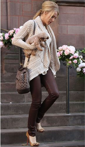Blake Lively's casual weekend outfit. love the pants and the puppy!