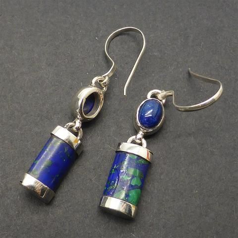 Earring Lapis over Azurite with Malachite| 925 Sterling Silver | Authentic Stones | Crystal Heart Melbourne Australia since 1986
