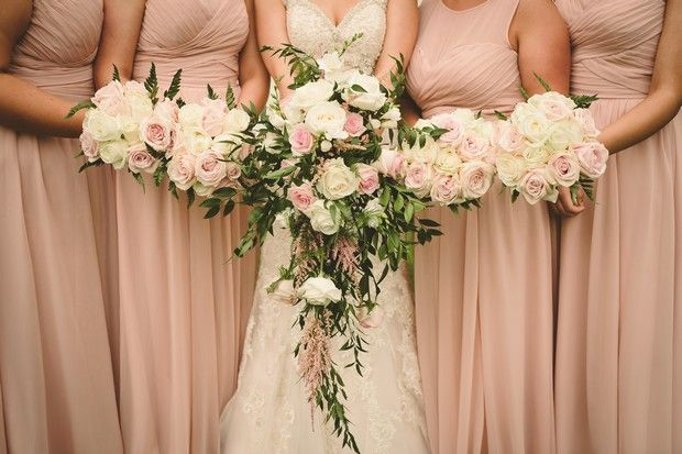 Pale blush pink bridesmaids rose bouquets and cascading bridal bouquet