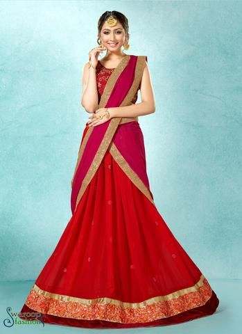 Gorgette Red Unstiched Preety Circular Lehenga Choli