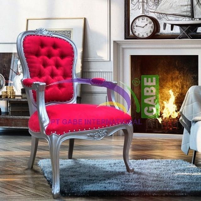 Arm #chair nelsa #francestyle color with #silver #upholstered with #suede #fabric #classic #europian #picoftoday #furniture #indonesiafurniture #furnituretoday #balifurniture #customdesign by #gabeart more products visit www.gabeart.com