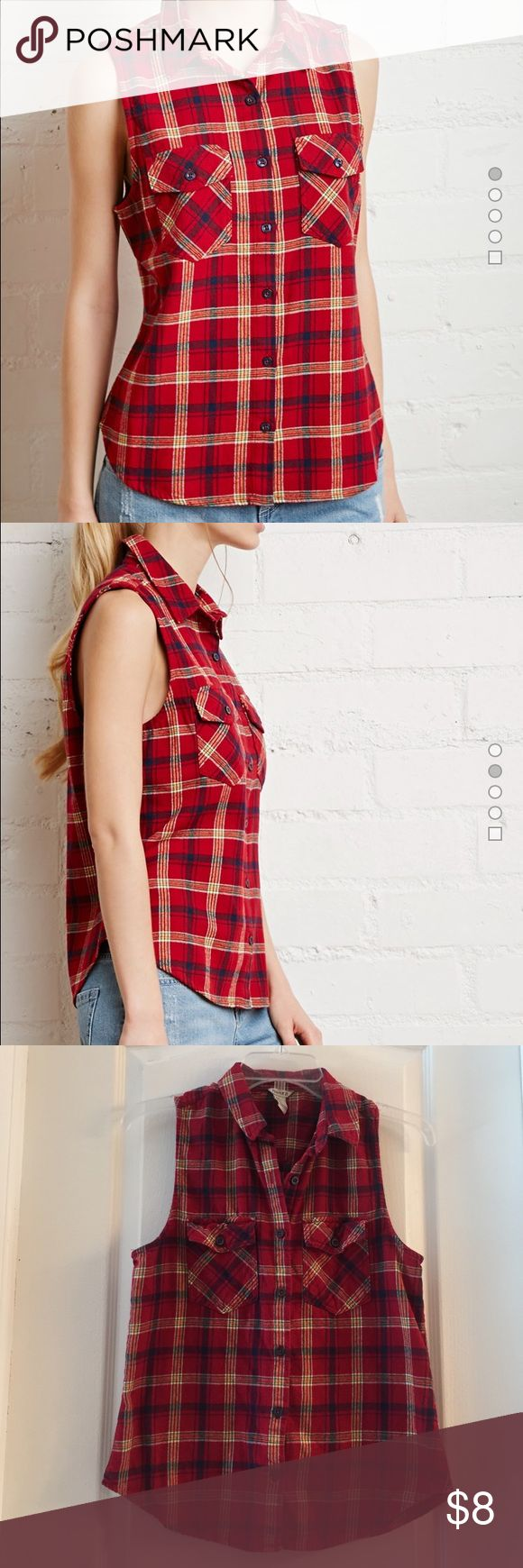 Red plaid sleeveless button down top Red plaid sleeveless, button down top. Flannel material. Perfect for fall with cute moto jacket and booties!👍🏼 🍂price is firm🍂 Forever 21 Tops Tank Tops