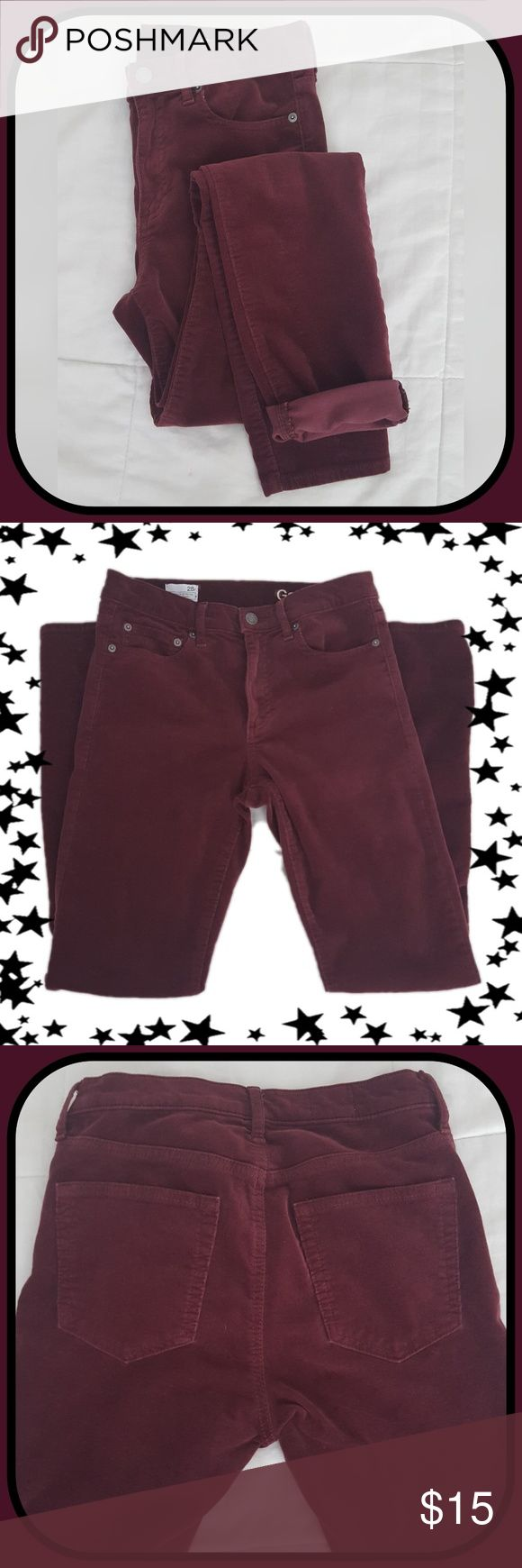 GAP 1969 True Skinny Corduroy Leggings Cord Jeans These cords are beautiful and soft. Size 28R. Skinny leg with lots of comfort and stretch. 5 pocket design. Button and zip fly. Burgundy wine color. GAP Pants Skinny