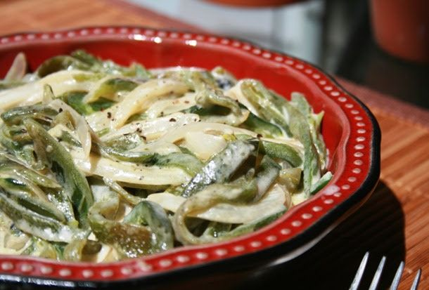 """Rajas de Chile Poblano"" (Poblano pepper strips in a creamy sauce) An easy dish to enjoy in tacos and with an added variation given at the bottom."
