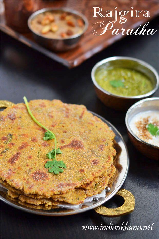 Falahari Rajgira Paratha | Rajgira Thepla for Navratri Vrat or fasting.  These rajgira or amarnath flour parathas are gluten-free, vegan and delicious.
