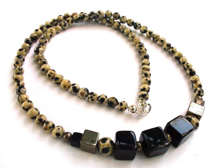 Mens Necklaces – Mens Necklace - Jasper, onyx, pyrite, silver – a unique product by OlgaJewelryBoutique on DaWanda