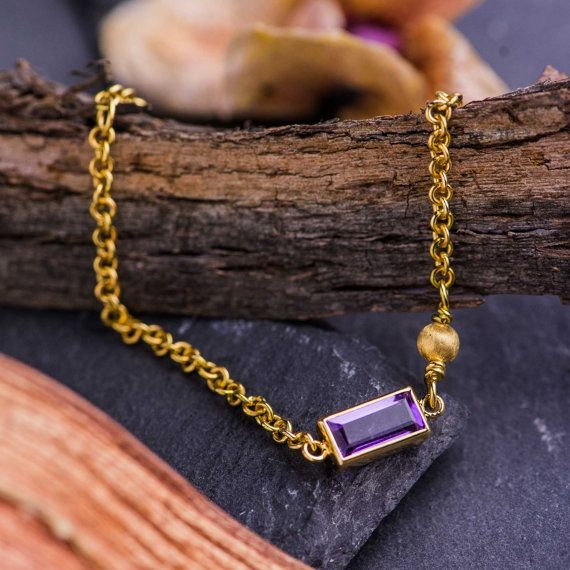 4 CT Natural Purple Amethyst set in 14K Yellow by ZEHAVAJEWELRY